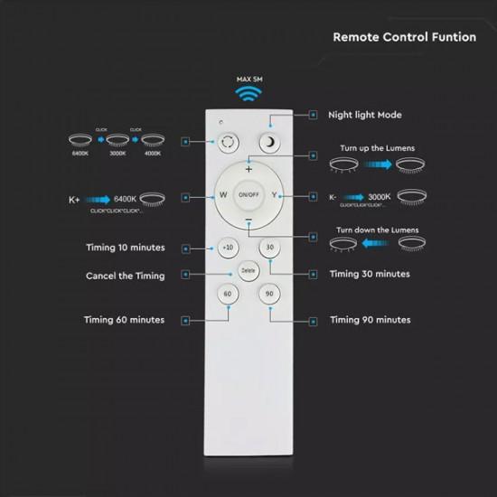 Πλαφονιέρα LED 40W 230V 120° 2800lm IP20 Στρογγυλή με Εναλλαγή Χρωμάτων & Χειριστήριο Dimmable 14741 V-TAC