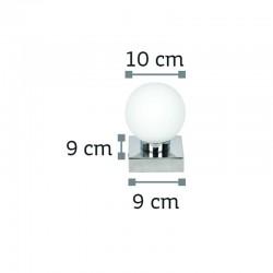 InLight Επιτοίχιο φωτιστικό από χρώμιο μέταλλο και λευκή οπαλίνα (43420-1Φ-Χρώμιο)